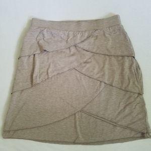 Dakini skirt petal tiers elastic waist tan M
